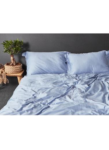 Hibboux 200x220 Dream Pure Pamuk Saten Nevresim + Yastık Kılıfı - Faded Blue Renkli